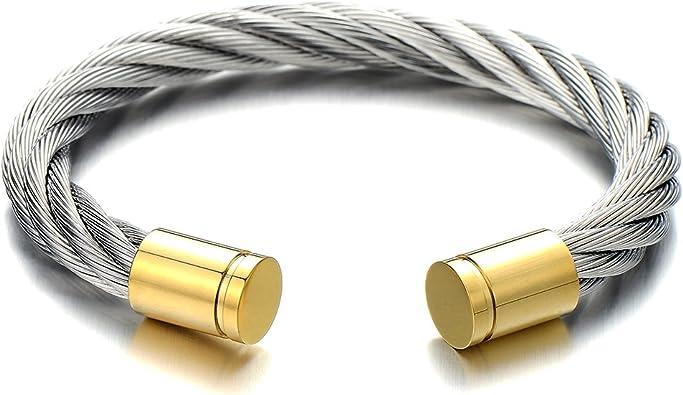 COOLSTEELANDBEYOND Hommes Femmes Large Elastique R/églable Bracelet en Acier Inoxydable Manchette C/âble Torsad/é Argent Or Deux Tons