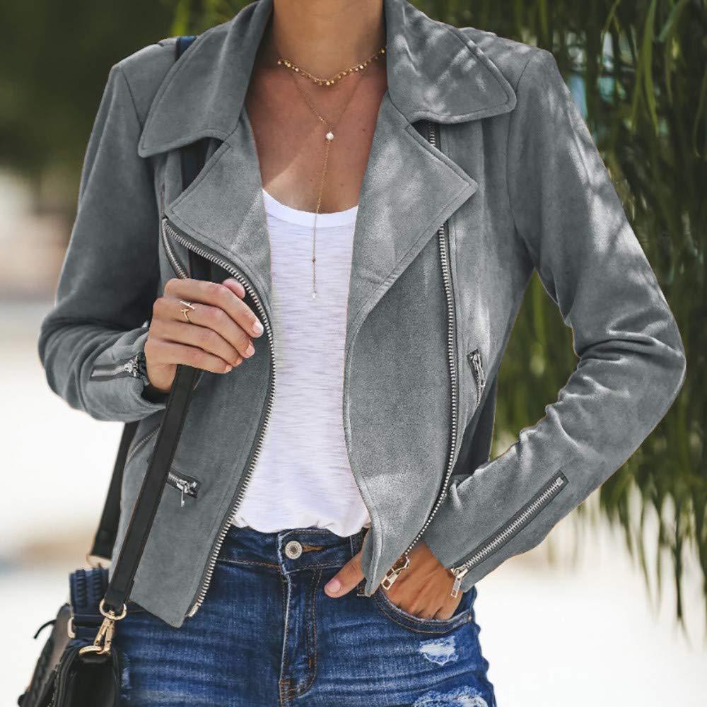 Zipper Up Bomber Jacket Womens Ladies Retro Rivet Casual Coat Outwear