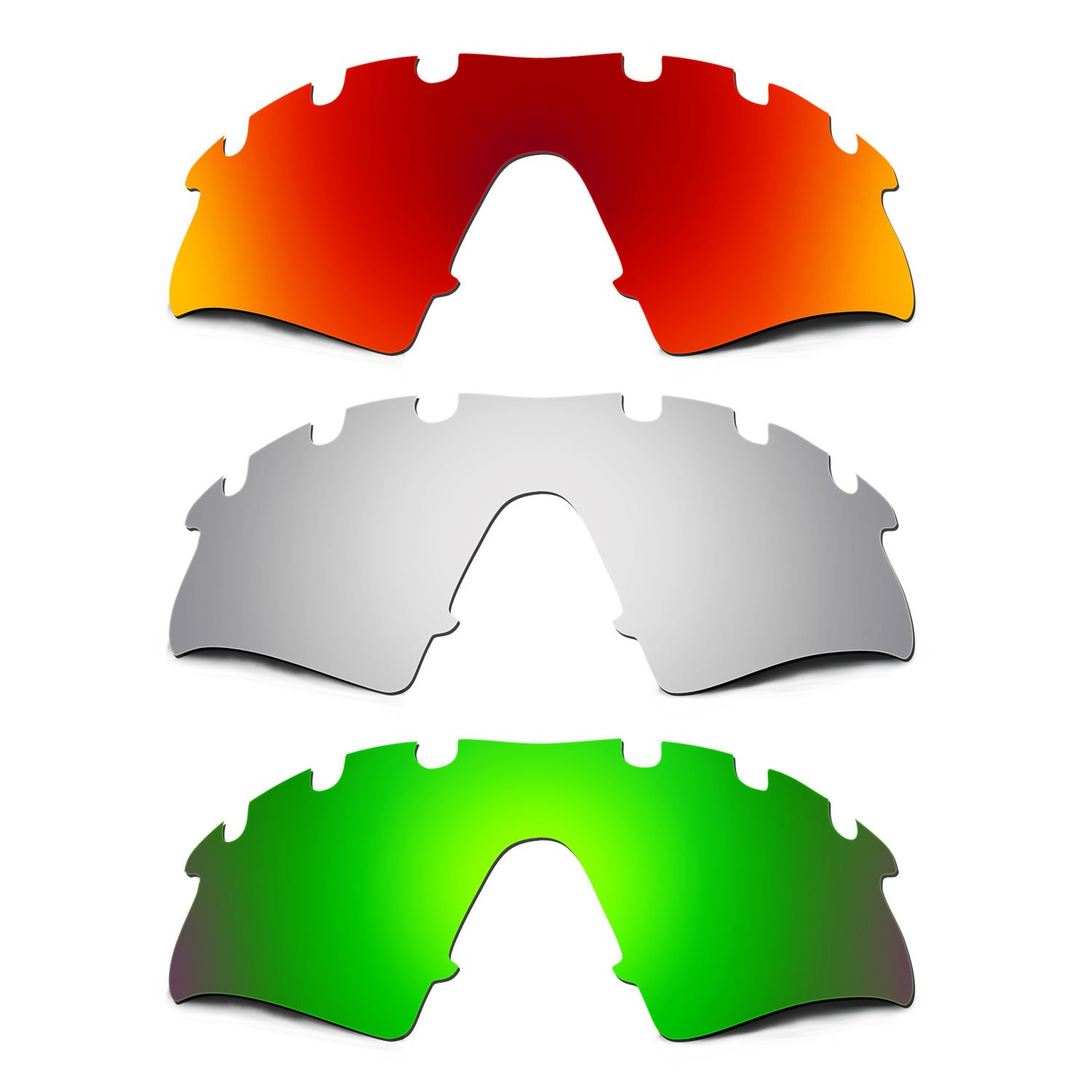 Hkuco Mens Replacement Lenses For Oakley M2-Vented Red/Titanium/Emerald Green Sunglasses
