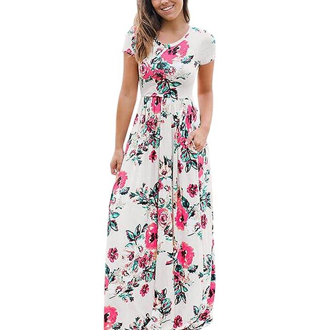 QIYUN.Z Vestido largo de playa con estampado floral y cuello en V ... 9fb8e8f90863