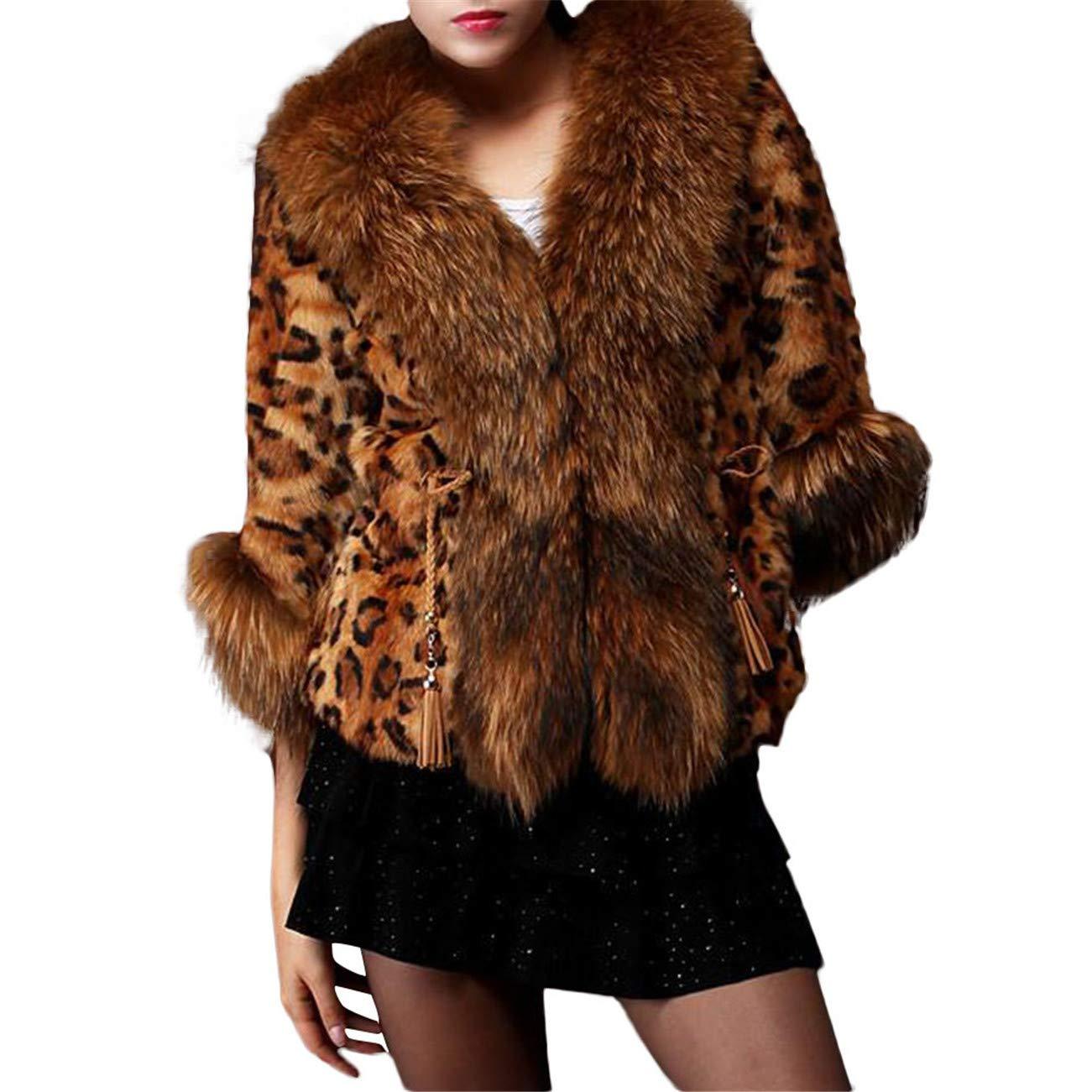 AMUSTER -Inverno Autunno Donna Elegante Cerimonia Fashion Casual Caldo 7 Minuti di Manica Leopard Print Faux Pelliccia Cappotto Capispalla Marrone)