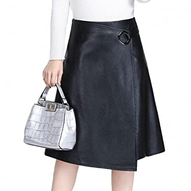 9b3789c09f3b Women Soft PU Leather Skirt Irregular Skirt leather skirt Womens Big Size  Black XXXL