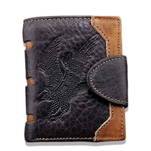 Men's Cool Eagle Totem Cowhide Leather Vertical Wallet Zipper Multi-card Cardholder