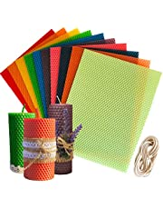"""10 Colors Sheets 10"""" X 8"""" Beeswax Candle Making Kit - Pure Handmade 100% Beeswax Honeycomb - Cotton Wick 7 feet - Create Your Own Beeswax Candles!"""