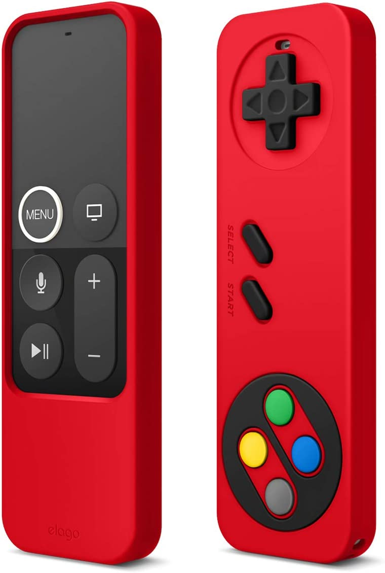 elago R4 Retro Apple TV Remote Case Compatible with Apple TV Siri Remote 4K 5th / 4th Generation - Classic Controller Design [Non-Functional], Extra Protection, Lanyard Included (Red)