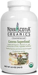 Nova Scotia Organics Greens Superfood (240g); Organic; Vegetarian; GMO Free; Greens Powder; Healthy Digestion; Immune Support*