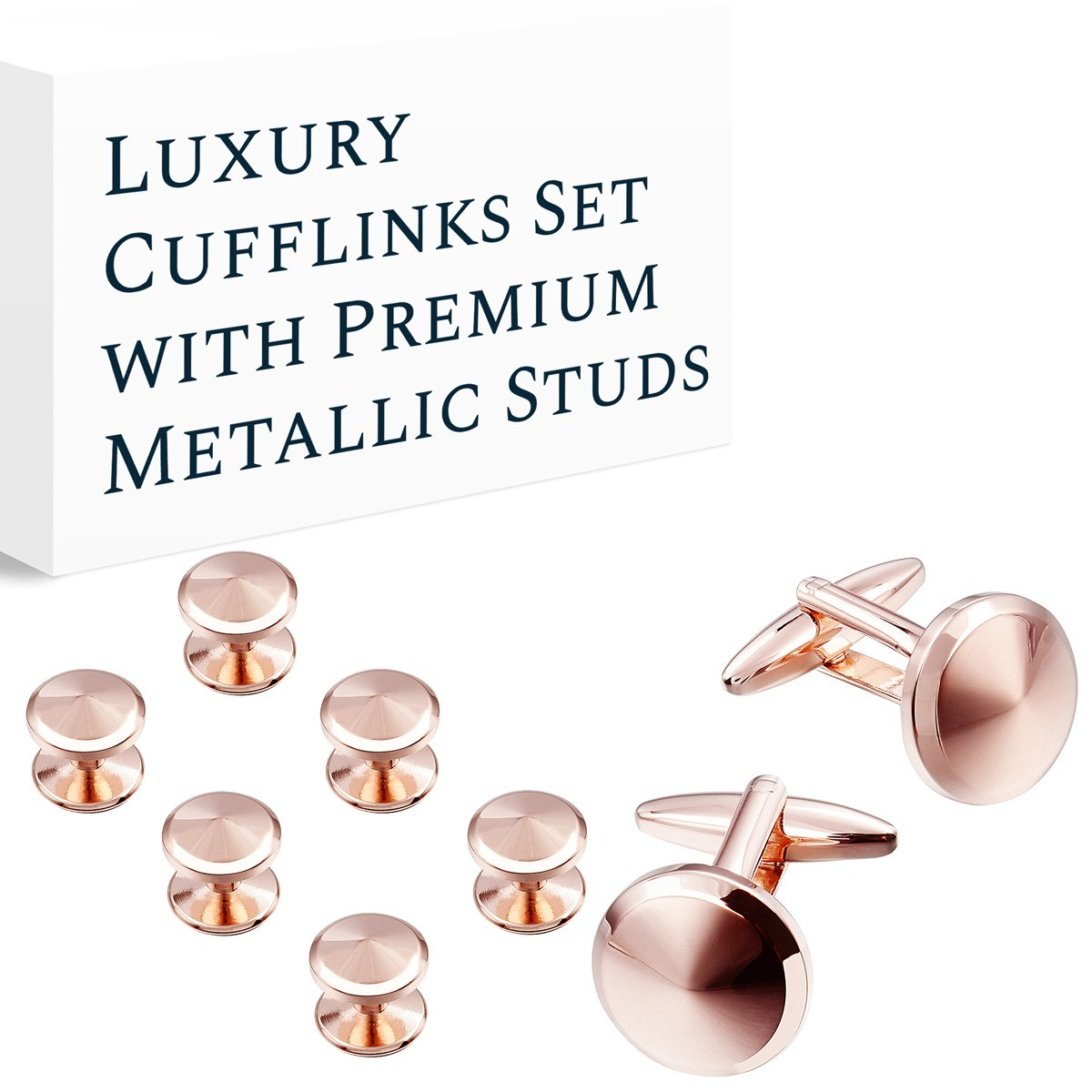 HAWSON Cufflink and Studs Tuxedo Set Rose Gold Color with Platinum Finish Two Cufflinks with Six Shirt Studs individually wrapped in Stylish Velvet Gift Bag