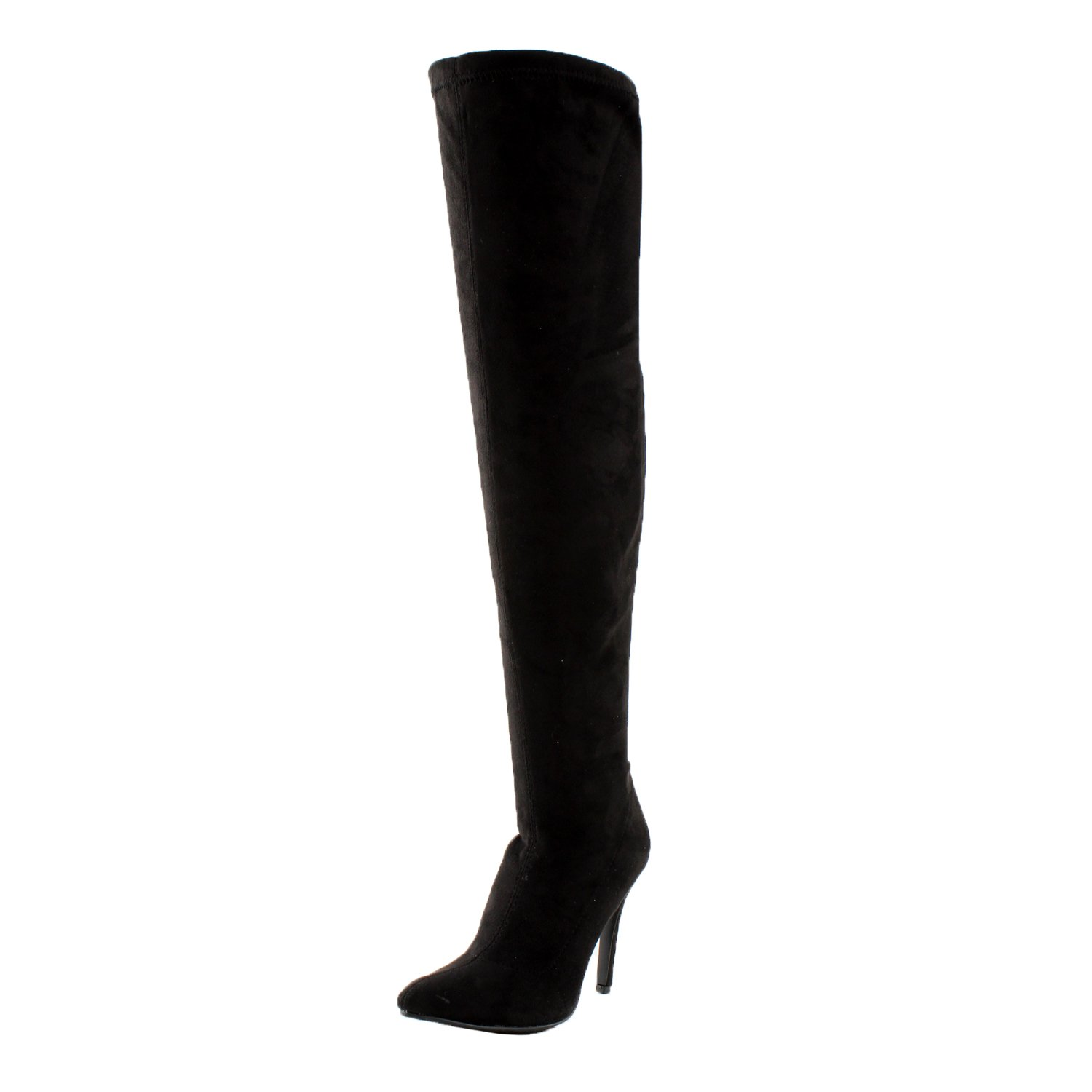 Breckelle's Beverly-15 Women Faux Suede Pointy Toe Stiletto Heel Thigh High Boot,Black