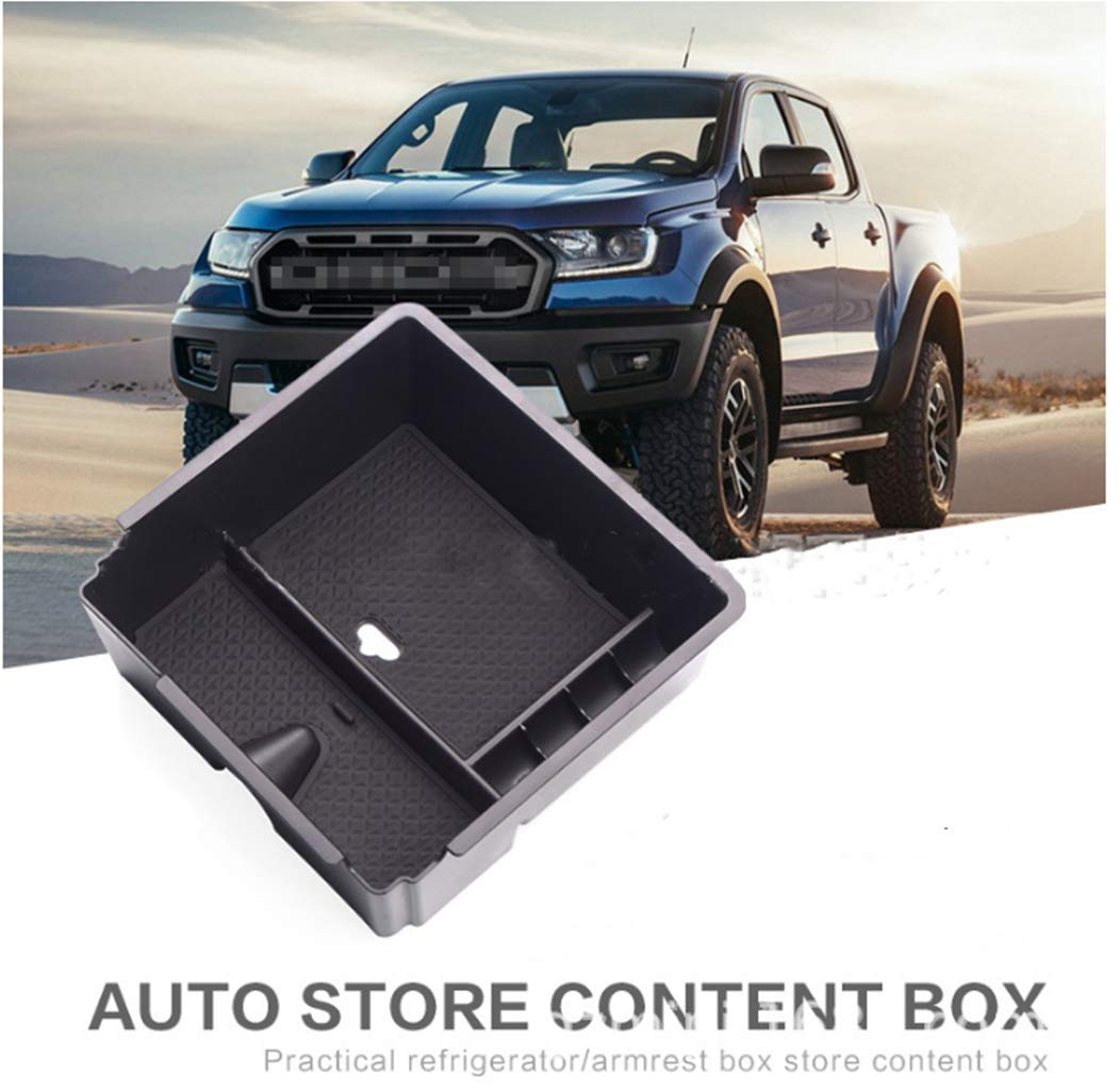 ALLYARD for Ford Ranger Custom Center Console Organizer Armrest Box Secondary Storage Insert ABS Black Materials Full Tray for Hidden Accessories
