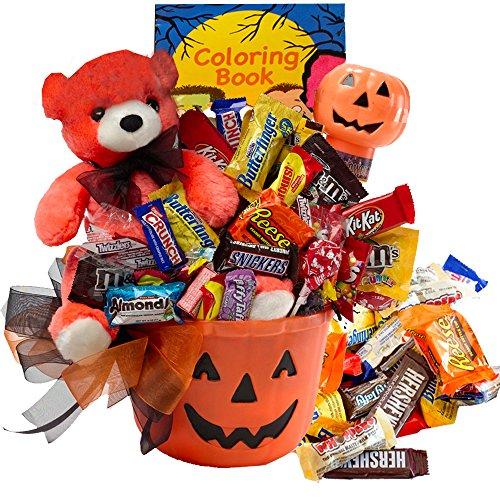 Happy Halloween Jack O Lantern with Teddy Bear Gift Basket
