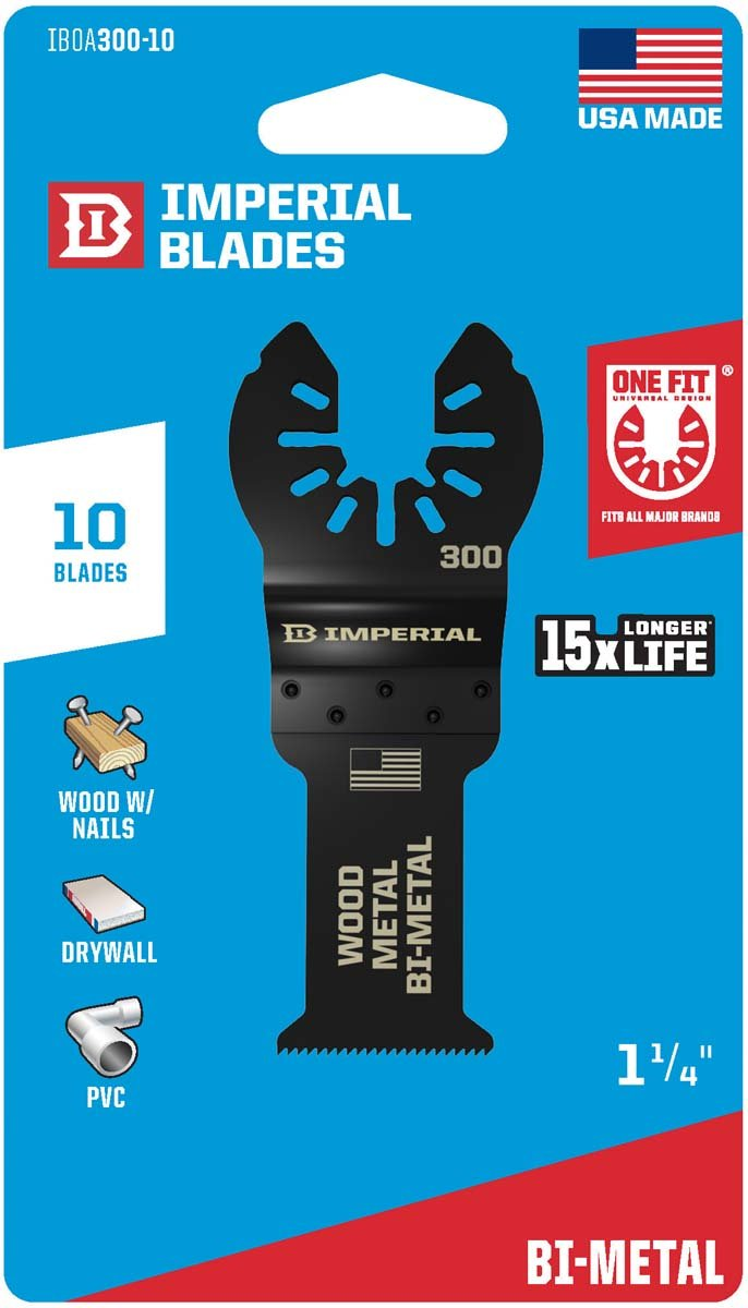 Imperial Blades IBOA300-10 ONE FIT 1-1/4'' Wood/Metal Oscillating Saw Blade, 10PK