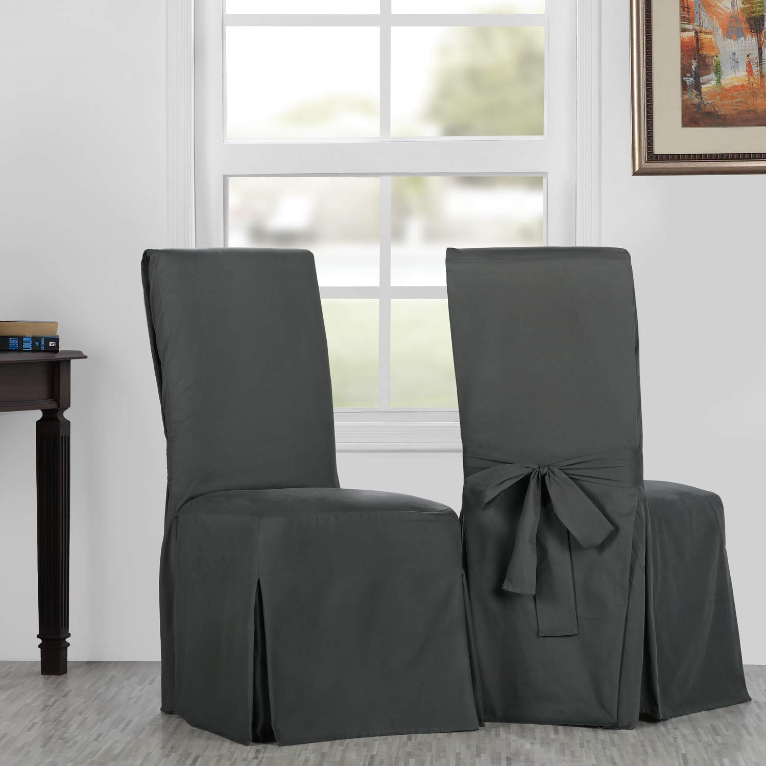 HPD Half Price Drapes PRCT-LS04-CC-L-PR Solid Cotton Twill Chair Covers (Sold As Pair), Millstone Gray