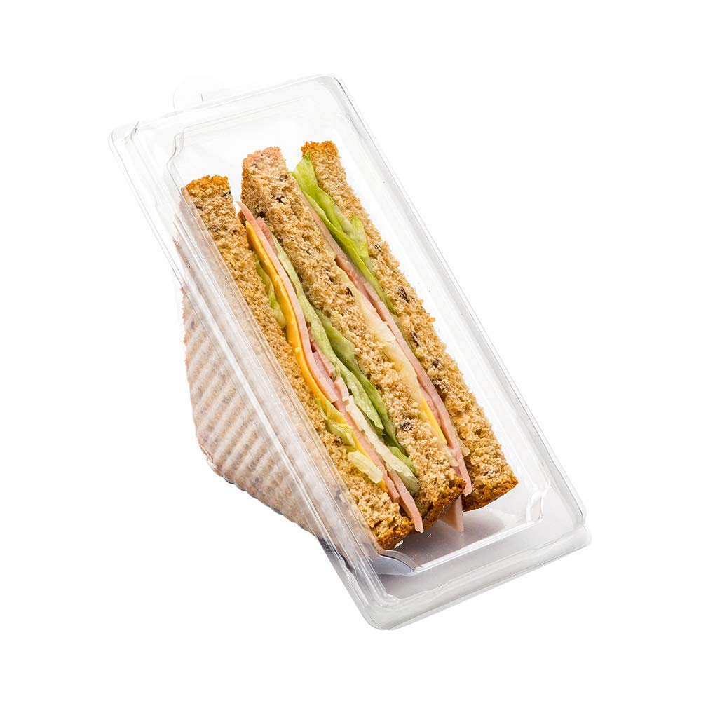 Restaurantware RWP0424C Thermo Tek 10 oz Triangle Clear Plastic Sandwich Container with Lid 6 1/4'' x 3 1/4'' x 3'' 100 count box, 10 ounces,