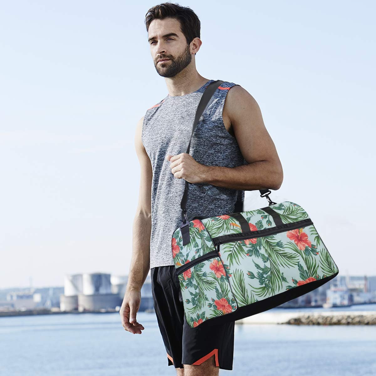 Travel Tote Luggage Weekender Duffle Bag Tropical Island Sunset Large Canvas shoulder bag with Shoe Compartment