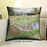 PleayeL Soft Canvas Throw Pillow Covers Cases for Couch Sofa -bamboo bridge crossing the small river Print 20'' x 20''(50 x 50 cm)