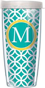 "Signature Tumblers""M"" Monogram Insignia Wrap on Teal and White Roundabout 16 Ounce Double-Walled Travel Tumbler Mug with Pearl White Easy Sip Lid"