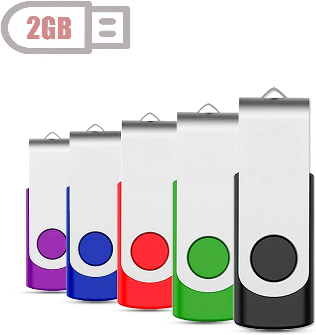 KOOTION 5 X 2GB USB Flash Drives Thumb Drives Memory Stick USB 2.0 5 Colors: Black Blue Green Purple Red