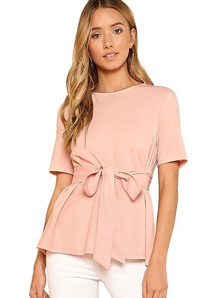 8afdb94e Floerns Women's Tie Waist Knot Summer Keyhole Short Sleeve Top Blouse Pink  XS