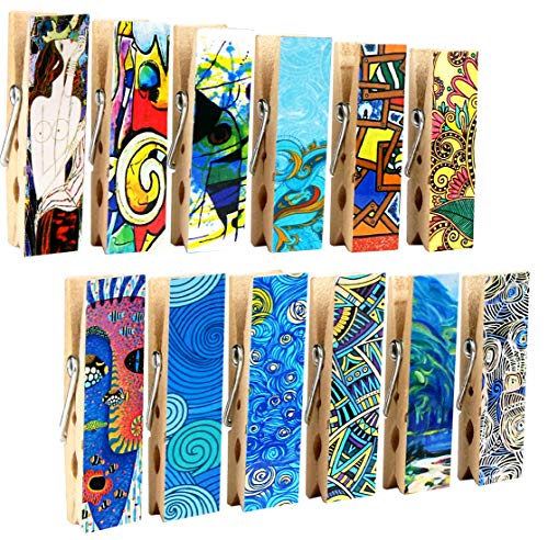Clothespin Magnet Clips - Cosylove 12pcs Magnetic Artistic Clips Decorative Refrigerator Magnet Clips Made of Wood with Beautiful Patterns–Super Fridge Magnets for House Office Use - Display Photos,Memos, Lists, Calendars