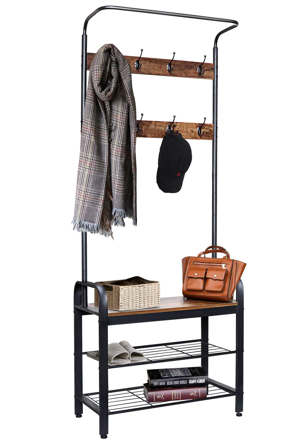 ZNCMRR Entryway Hall Tree with Shoe Bench, Rustic Coat Rack Industrial Entryway Furniture Organizer with 8 Double Hooks and Storage Shelf for Hallway, Bedroom, Living Room, Easy Assembly by ZNCMRR