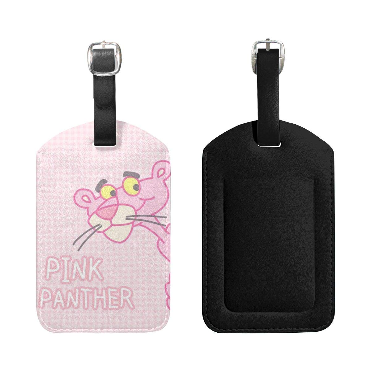 PU Leather Luggage Tags Hi Pink Panther Suitcase Labels Bag Adjustable Leather Strap Travel Accessories Set of 2