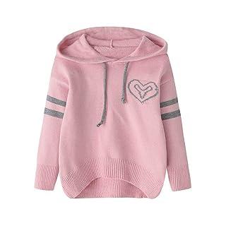 FOANA, maglione lavorato a maglia per bambine, con cappuccio e geometri, ideale per l'inverno rosa rosa 110/2-3 Years