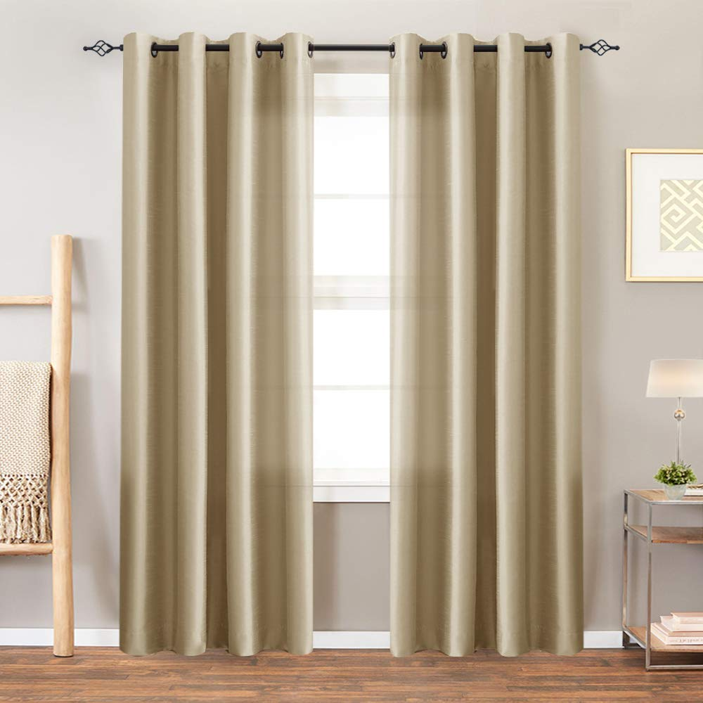 Faux Silk Satin Curtains 84 inch Length for Bedroom Window Curtain Panels  Dupioni Light Reducing Drapes for Living Room Window Treatment Set, Grommet  ...
