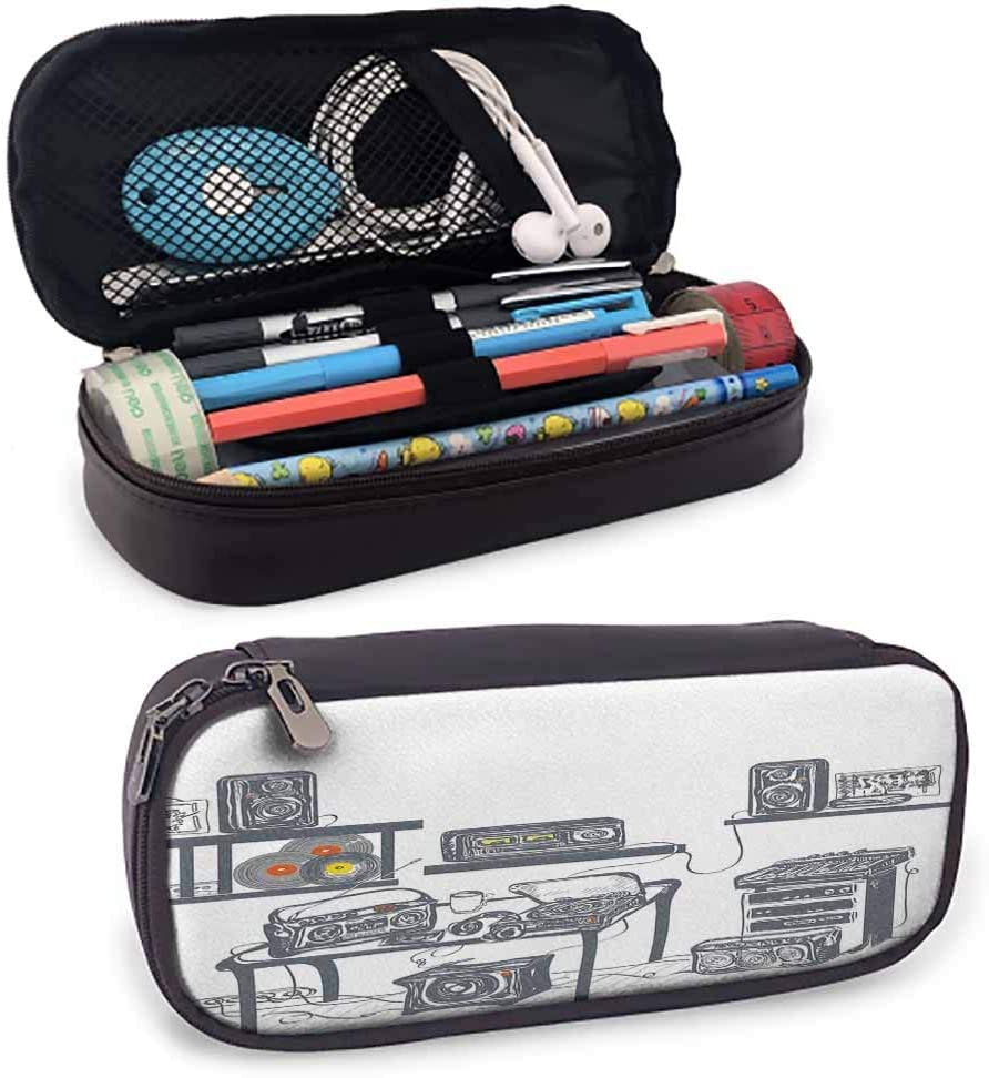 Modern Student Stationery Recording Studio with Music Devices Turntable Records Speakers Digital Illustration Portable Pencil Case W3.5xL7.9 Cadet Blue