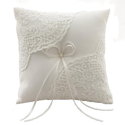 Amazon Com Azdress Plain 8 Inch Ivory Lace Wedding Ring Bearer