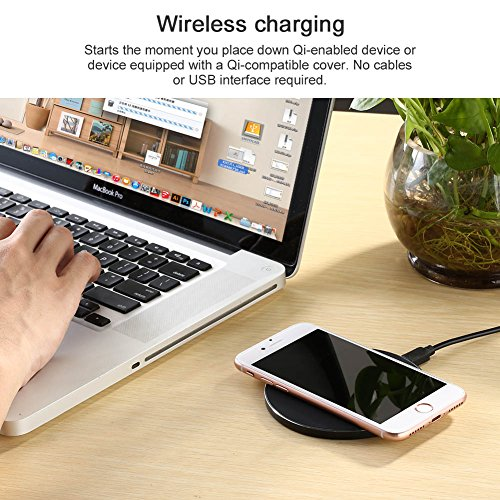 Qi Wireless Charger for Samsung Galaxy S9/S9 Plus-XIAOWU Wireless Charging Pad for iPhone 8/iphone 8 plus/iphone X - Fast Wireless Charger Galaxy S8/S8 Plus/S7/S6/Note 8/Note 5 (Black)