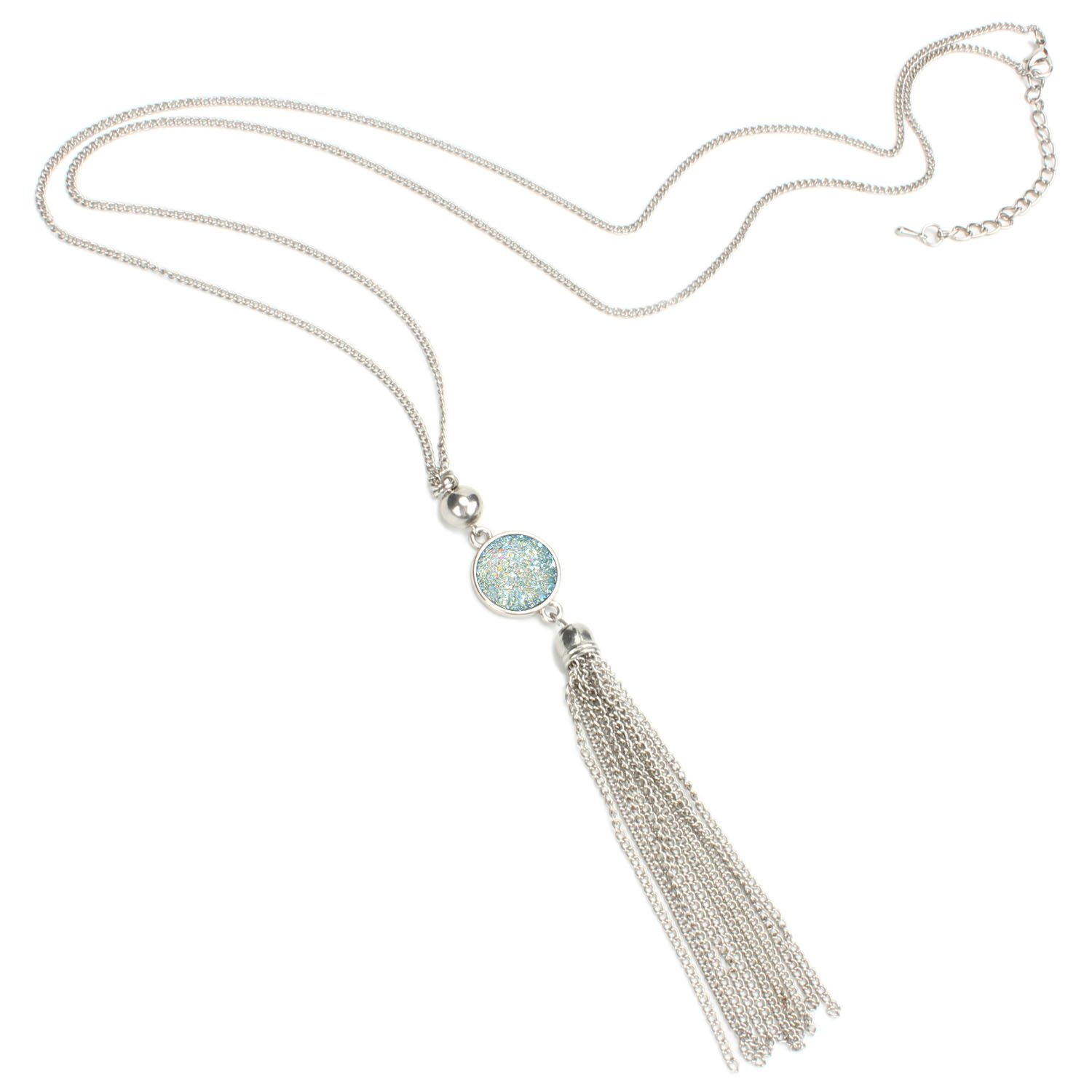 BOUTIQUELOVIN Y-Shaped Long Chain Tassel Necklace With Super Sparkly Faux Druzy Stone, Stainless Steel