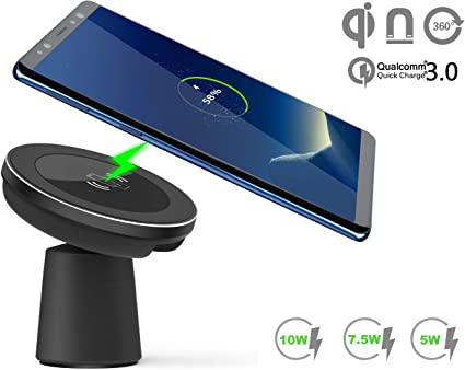 Samsung Galaxy S10//S10E//Note10//S9//S9+//S8 and More 360 Rotation Wireless Car Charger Compatible for iPhone 11//11 Pro Max//Xs Max//XR//X//8 Plus 10W Qi Fast Car Mount Phone Holder Magnetic Dashboard