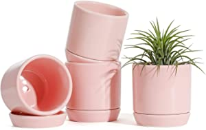 Succulent Planters Pots for Plants Indoor - 3.1 Inch Glazed Ceramic Small Plant Pot with Drainage Hole & Saucer Indoor for Home Decor(POTEY 055307, Set of 4, Plants NOT Included)