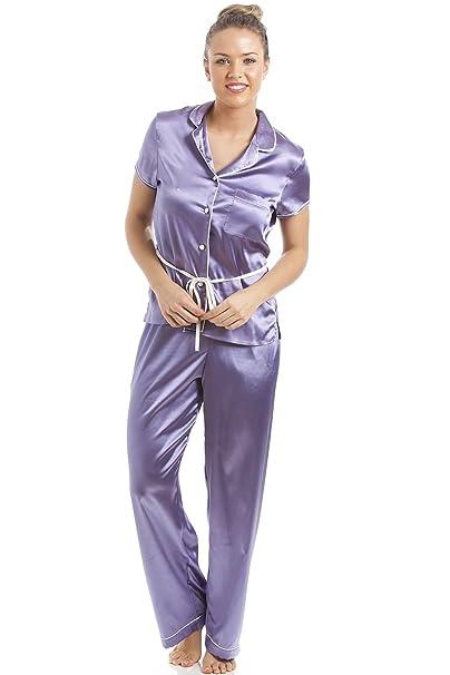 Camille - Conjunto de pijama satinado para mujer - Camisa de manga corta con cinturón - Lila: Amazon.es: Ropa y accesorios