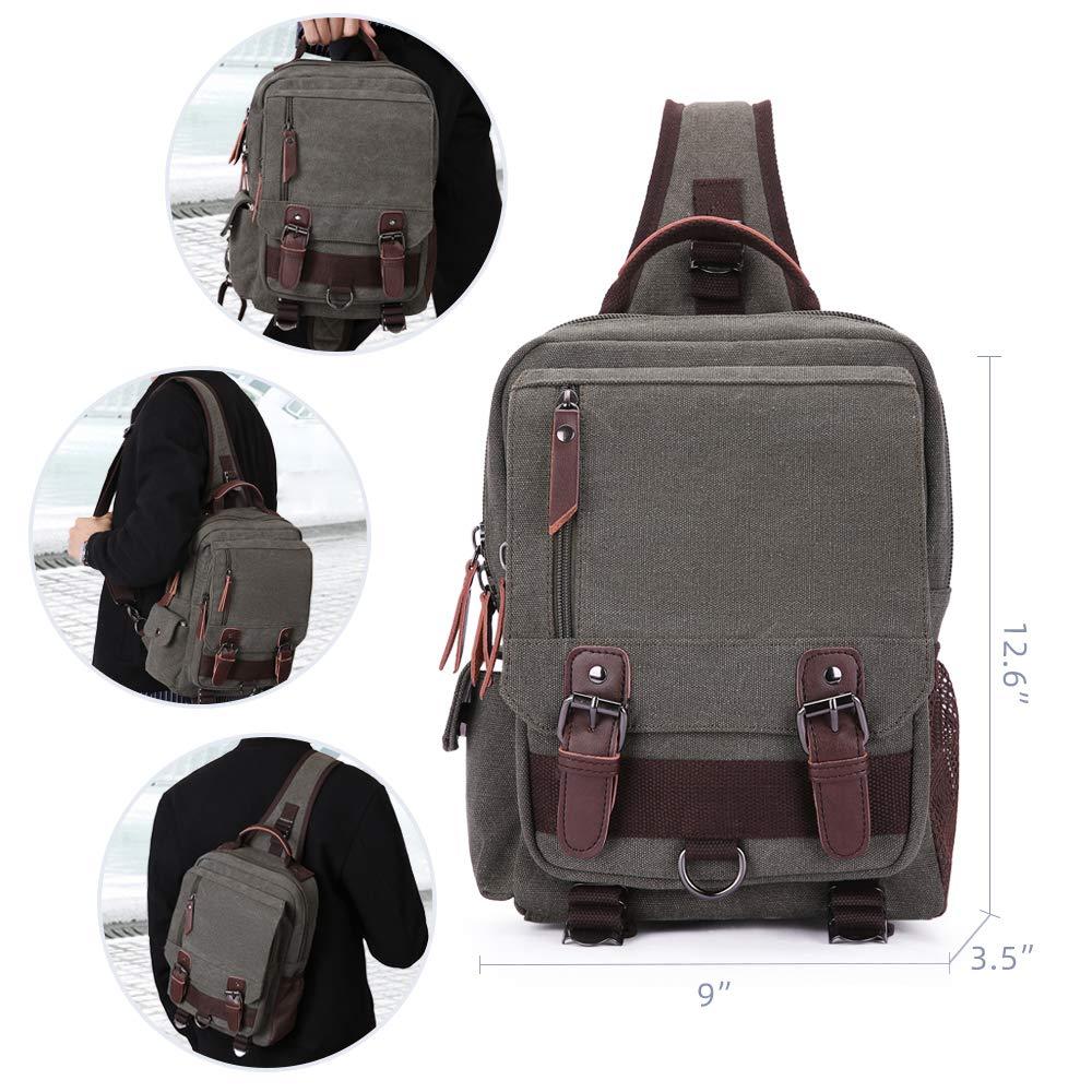 FLEXIPAGE Retro Leather Canvas Messenger Bag Shoulder Backpack Travel Rucksack Sling Bag Crossbody Bag for Women Men