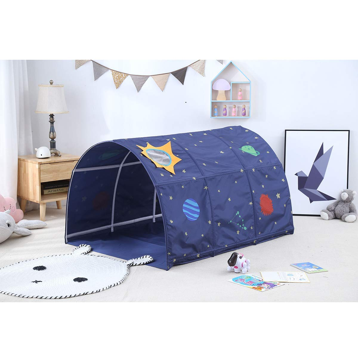 Cozyhoma Kids Play Bed Tent Childrens Tunnel for 90-100 cm in Width Loft Bed Bunk Kids Toddler Tent