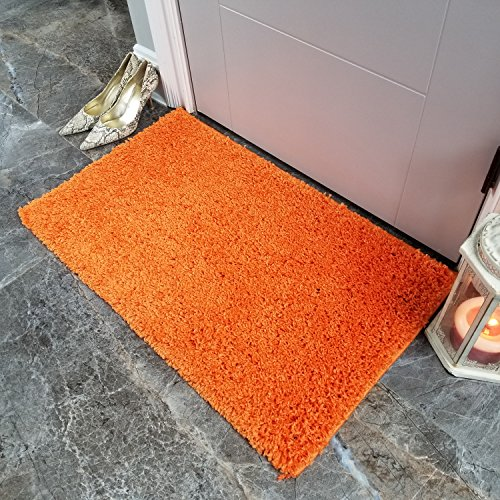 Maxy Home Bella Solid Orange 1 ft. 8 in. x 2 ft. 7 in. Shag
