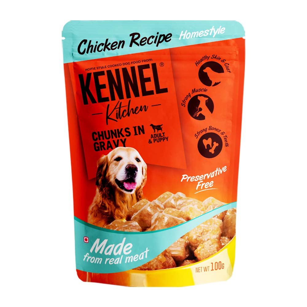 Kennel Kitchen Adult & Puppy Chicken Chunks in Gravy Wet Dog Food 100g (12 Pack)