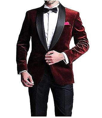 dd6747d9d39b LYXP Men's Wine Shawl Lapel Velvet Suit Slim Fit Wedding Suit Groom Tuxedos  with Black Pant