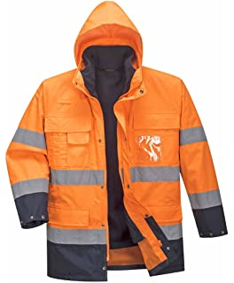 Hi Viz 3 4 Length Parka Reflective Tape Waterproof Quilted Railway ... 63a06cbdf