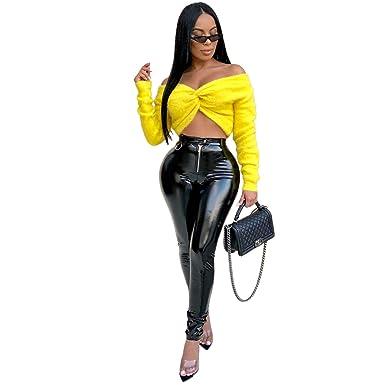 06da671c3cfd3 ED Express Women Bodycon PU Long Pants Sexy High Waist Skinny Leather  Coated Leggings Zipper Button