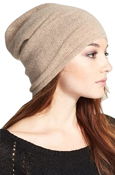 Halogen Slouchy 100% Pure Cashmere Beanie (Beige Oatmeal Med Heather ... 0e508be5e67