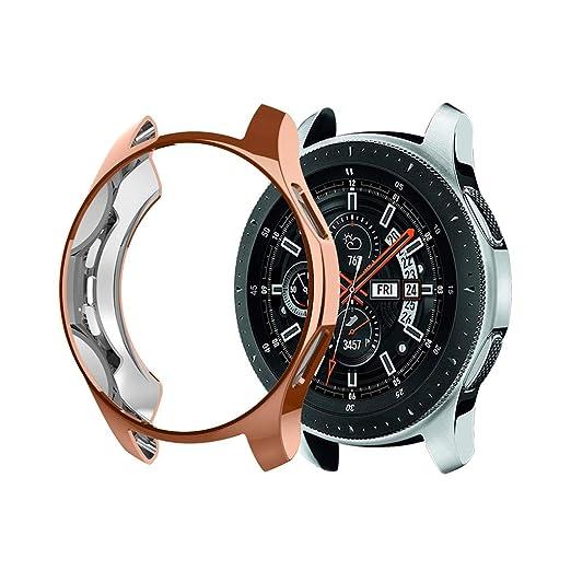 Hupoop - Funda Ultrafina de TPU para Samsung Galaxy Watch de 46 mm 1,12 pollici Oro Rosa: Amazon.es: Relojes