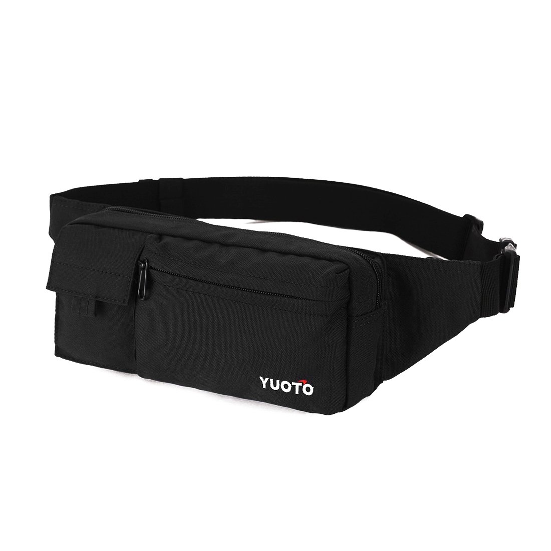 YUOTO Fanny Pack 4 Pockets Travel Workout Cycling Running Waist Bag Hip Belt Bum Bag Men & Women fit iPhone Plus black