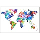Amazoncom Wieco Art Old Colorful World Map Extra Large Modern - Colorful world map painting