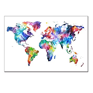 Amazon world map canvas map poster printed on canvas with world map canvasmap poster printed on canvas with frame ready hanging on world gumiabroncs Image collections
