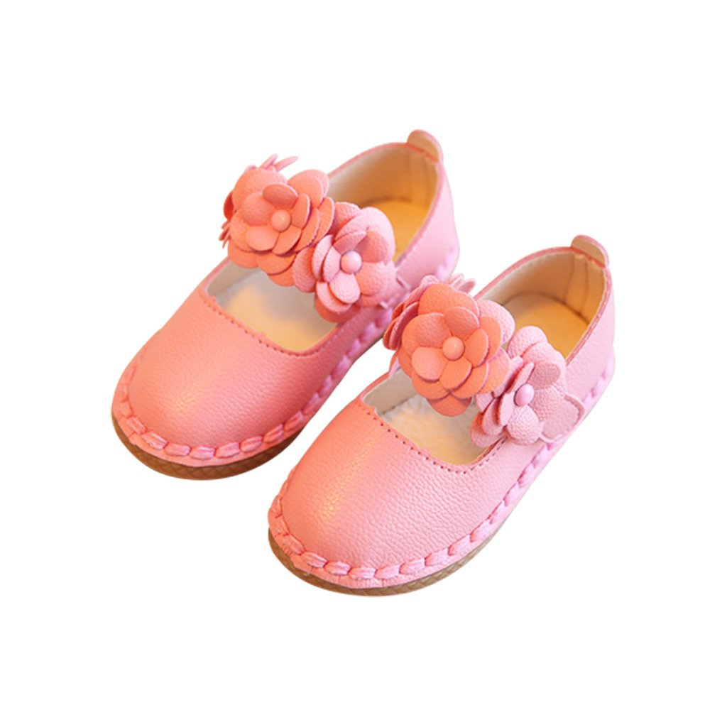 Optimal Girls Genuine Leather Solid Flower Sandals Toddler, Little Kid
