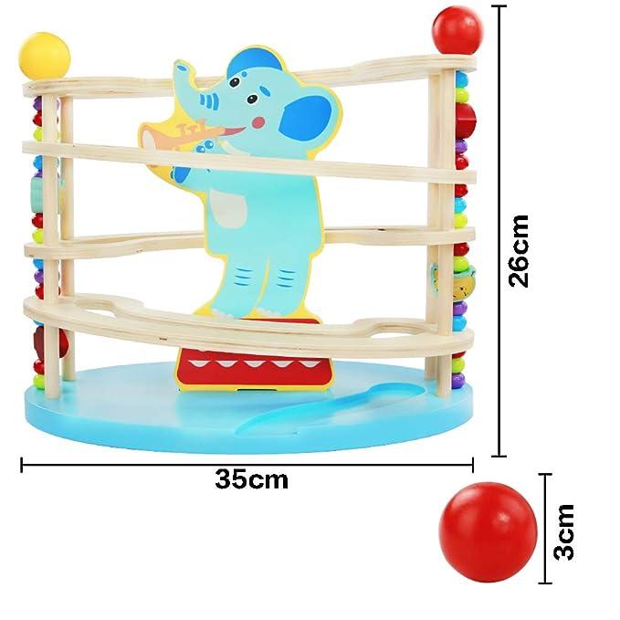 Monate Kugelbahn Holz Murmelbahn Holzspielzeug-Rollbahn aus Holz mit 3 Kugels Spielzeug Giraffe Motorikspielzeug f/ür M/ädchen Junge Kinder ab 12