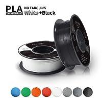 Filament PLA 1,75 mm, Eryone PLA Filament 1,75 mm, Imprimante 3D Filament PLA Pour Imprimante 3D, 2 kg, 2 Spools (1 kg Noir+1 kg) Blanc)