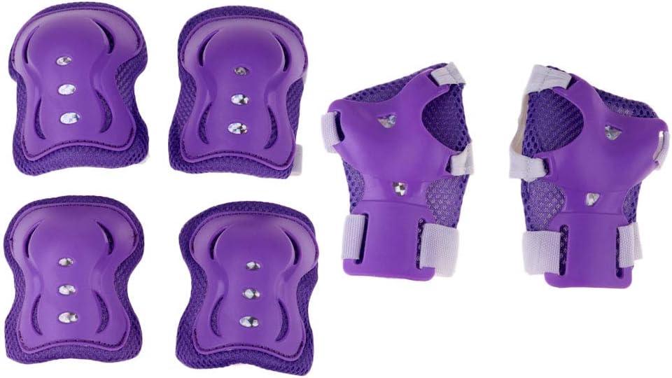 kesoto 子供用保護ギア ローラースケート スケートボード BMX スクーター サイクリング 膝パッド+肘パッド+手首パッドセット 6個 パープル